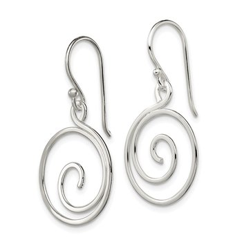 Sterling Silver Polished Swirl Design Dangle Earrings