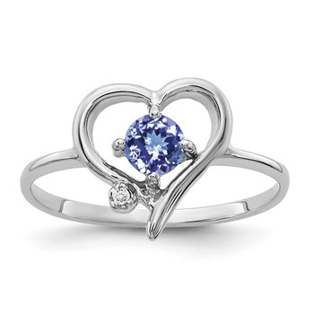 14k White Gold 4mm Tanzanite AA Diamond ring
