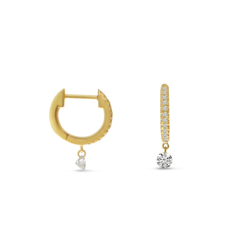 Color Merchants 14K Yellow Gold Tiny Huggie Diamond Earrings