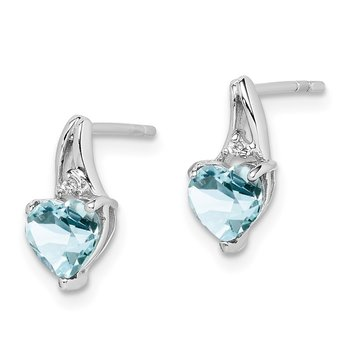 Sterling Silver Rhodium Plated Dia. Aquamarine Heart Post Earrings
