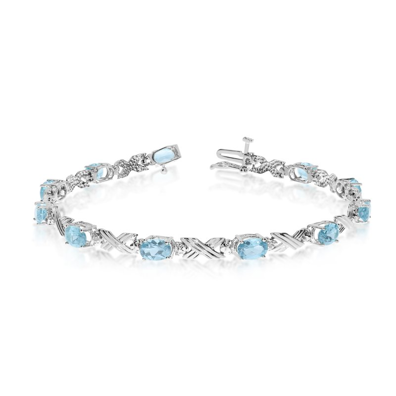 Color Merchants 10K White Gold Oval Aquamarine and Diamond Bracelet