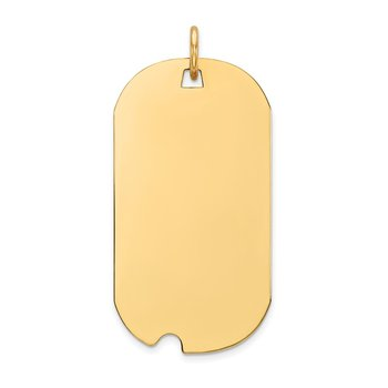 14k Plain .018 Gauge Engravable Dog Tag w/Notch Disc Charm