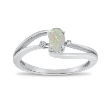14k White Gold Oval Opal And Diamond Wave Ring