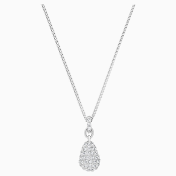 Heloise Pendant, White, Rhodium plated