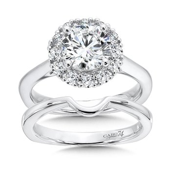 Classic Elegance Collection Halo Engagement Ring in 14K White Gold (1-1/2ct. tw.)