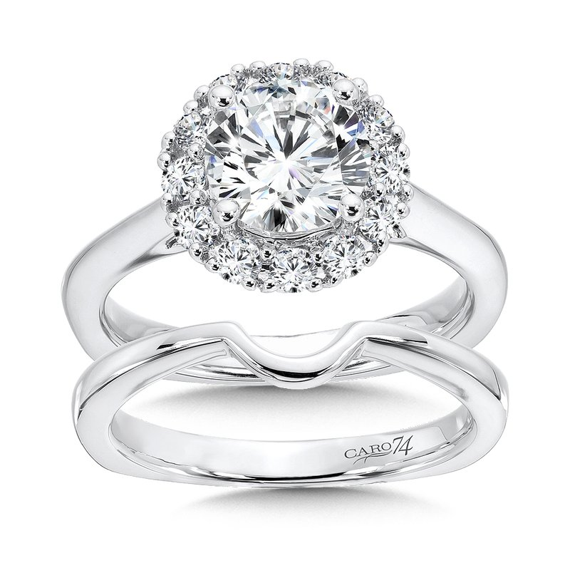Caro74 Classic Elegance Collection Halo Engagement Ring in 14K White Gold (1-1/2ct. tw.)