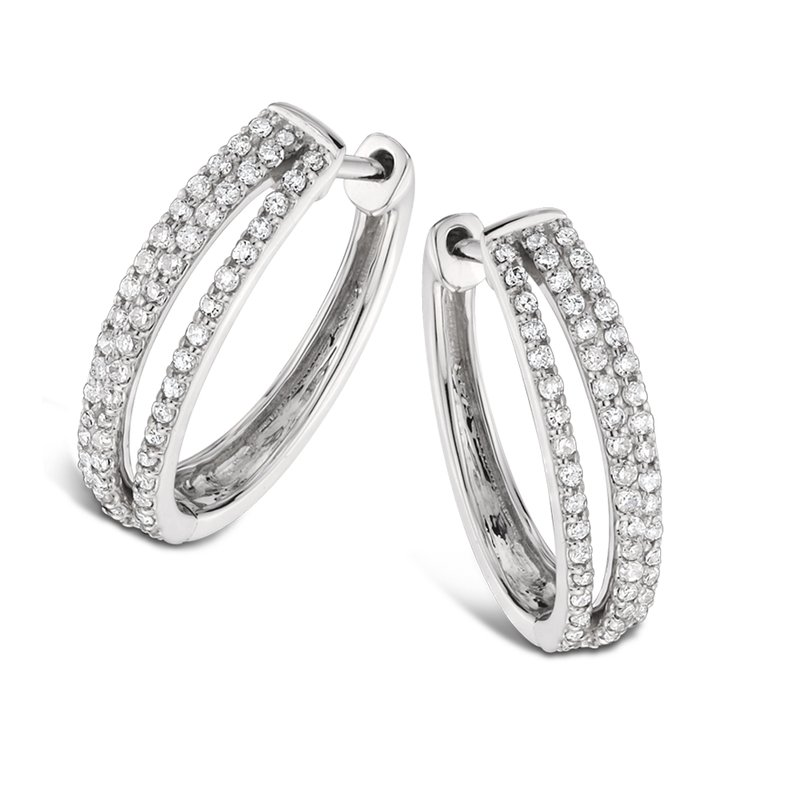SDC Creations Pave Set set Diamond Triple Hoop Earrings in 14k White Gold (3/4 ct. tw.) HI/I1