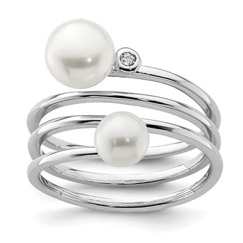 Sterling Silver Rhod-plat 5-7mm White Button FWC Pearl CZ Adj. Ring
