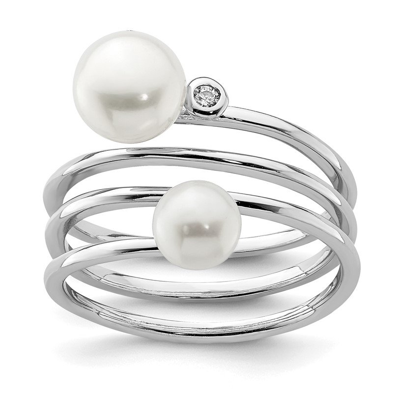 Quality Gold Sterling Silver Rhod-plat 5-7mm White Button FWC Pearl CZ Adj. Ring