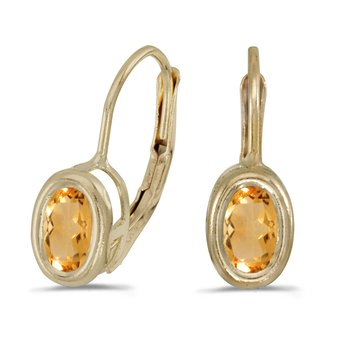 14k Yellow Gold Oval Citrine Bezel Lever-back Earrings