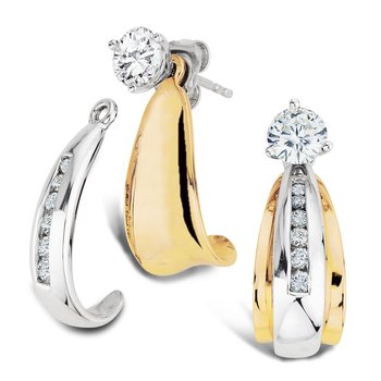 Channel set Diamond 2-Part J-Hoop Earring Jackets in 14k Yellow and White Gold (1/3ct. tw.)
