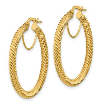 14k 3x25mm Twisted Round Hoop Earrings