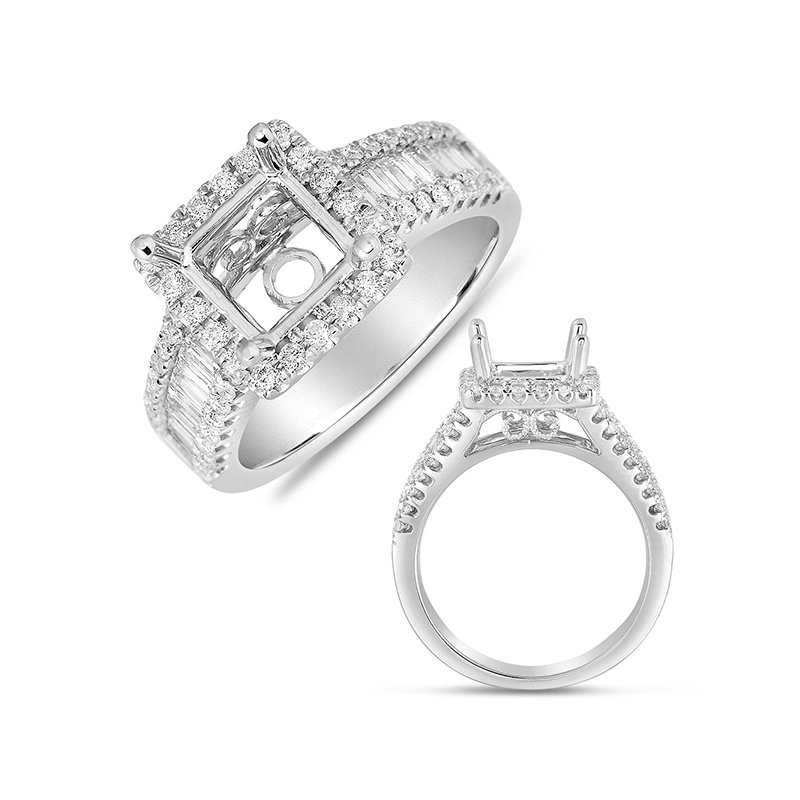 S. Kashi & Sons Bridal White Gold Pave Halo RIng