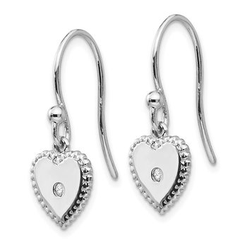 SS White Ice Diamond Heart Dangle Earrings