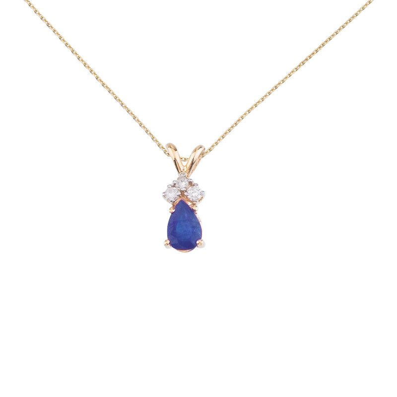 Color Merchants 14K Yellow Gold Pear Shaped Sapphire Pendant with Diamonds