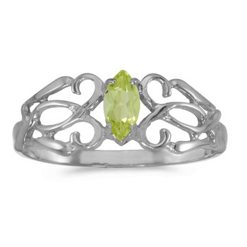 14k White Gold Marquise Peridot Filagree Ring