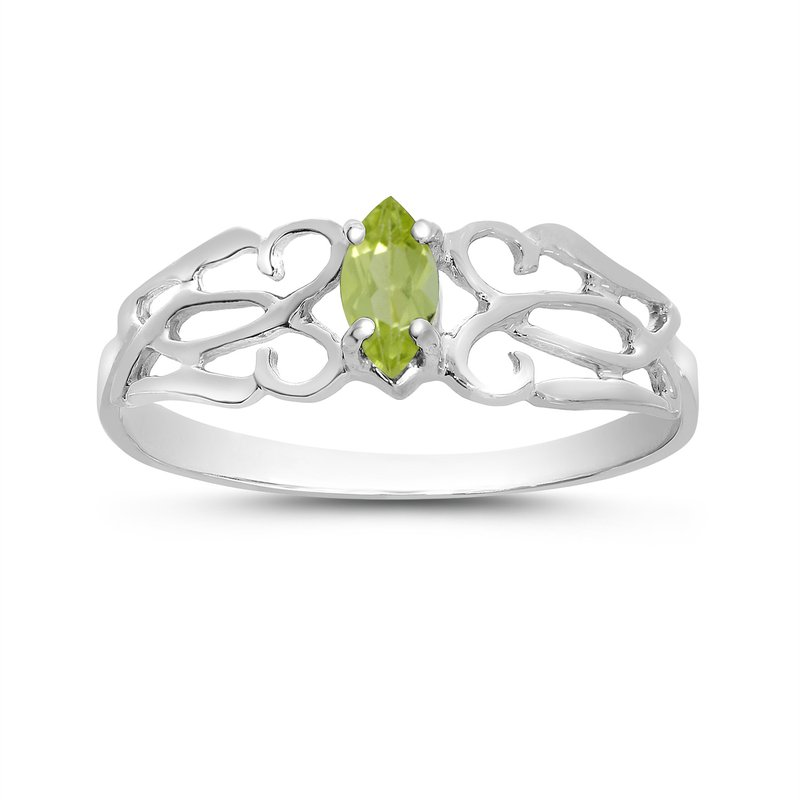 Color Merchants 14k White Gold Marquise Peridot Filagree Ring