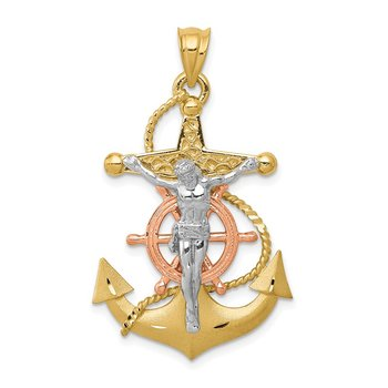 14k Tri-color Mariners Cross Pendant