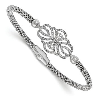 Leslie's Sterling Silver Polished Textured CZ Bracelet