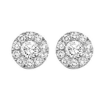 14K Diamond Cluster Earrings 1 ctw Round