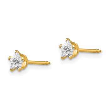 Inverness 14k 4mm Star CZ Post Earrings