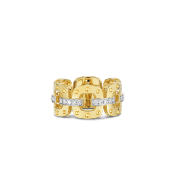 18KT GOLD LINK RING WITH DIAMONDS