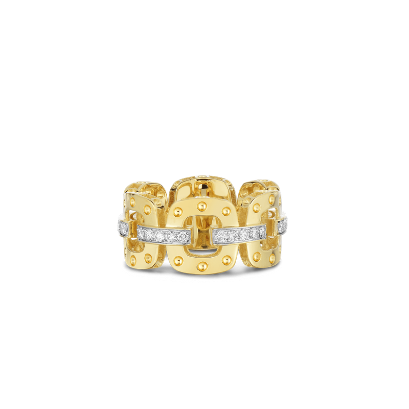 Roberto Coin 18KT GOLD LINK RING WITH DIAMONDS