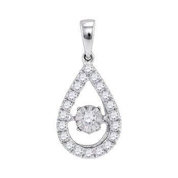 10kt White Gold Womens Round Diamond Solitaire Twinkle Moving Pendant 1/3 Cttw