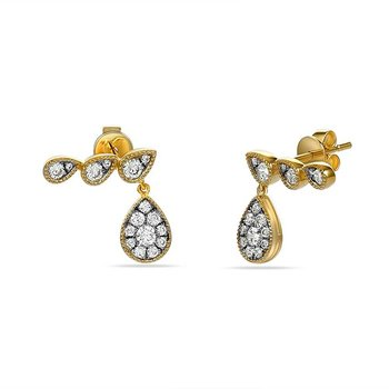 14K tear sahpe drop earrings with 32 Diamonds 0.57C TW