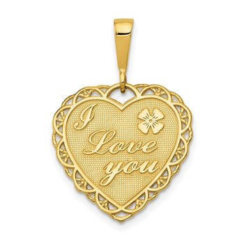 14k Reversible I LOVE YOU Heart Pendant