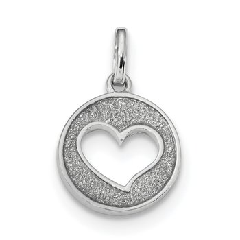 Sterling Silver Rhodium-plated Glitter Enamel Heart Cut-out Pendant