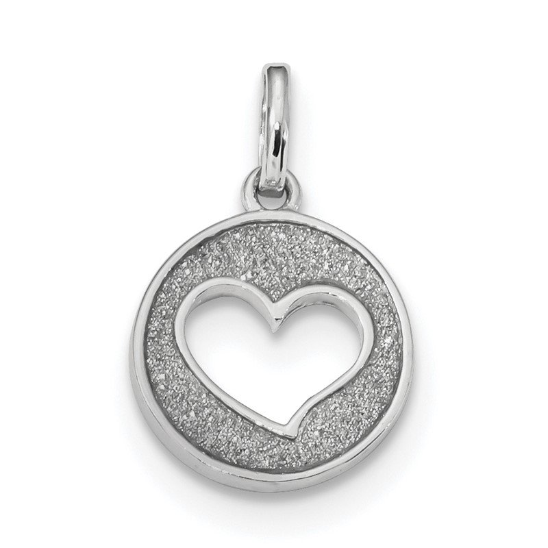 Quality Gold Sterling Silver Rhodium-plated Glitter Enamel Heart Cut-out Pendant