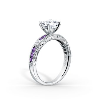 Amethyst Diamond Engraved Engagement Ring