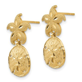 14k Yellow Gold Diamond Cut Nautical Post Dangle Earrings
