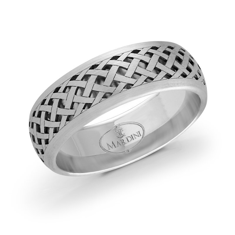 Mardini 7mm all white gold quilted pattern cut out band