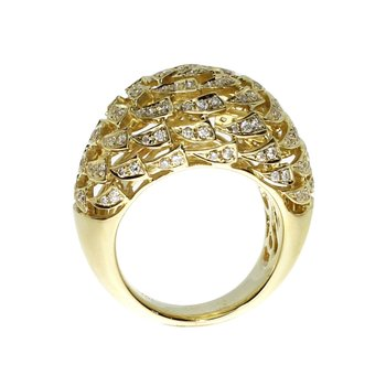 14k Yellow Gold Dome Diamond Fashion Ring