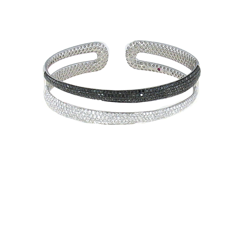 Roberto Coin 18Kt Gold 2 Row Bangle With Black And White Diamonds