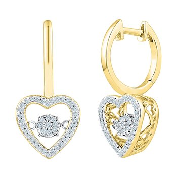 10kt Yellow Gold Womens Round Diamond Heart Moving Twinkle Dangle Earrings 1/4 Cttw