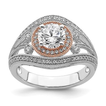 Sterling Silver Rhodium-plated & Rose-tone CZ Ring
