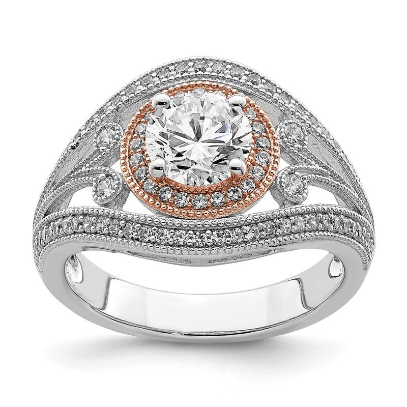 Quality Gold Sterling Silver Rhodium-plated & Rose-tone CZ Ring
