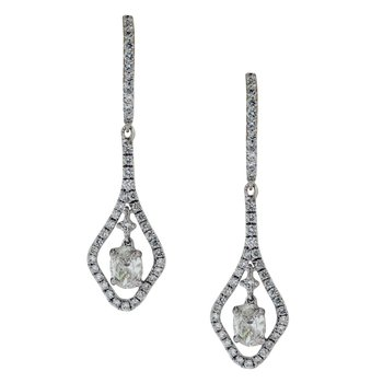 Suspended Diamond Dangle Earrings