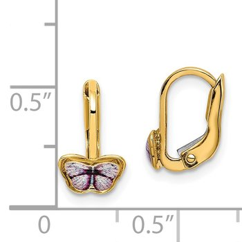 14K Children's Enamel Butterfly Hoop Earrings