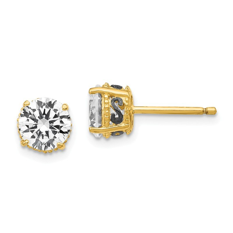Cheryl M Cheryl M Sterling Silver Gold-plated & Black-plated 6.5mm CZ Stud Earrings