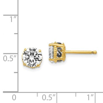 Cheryl M Sterling Silver Gold & Black-plated 6.5mm CZ Stud Earrings