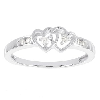 Sterling Silver Diamond Accent Doble Heart Promise Ring