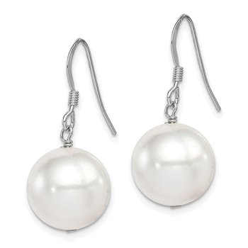 Sterling Silver Rh-plated 12-13mm White Shell Bead Dangle Earrings