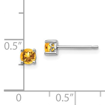 Sterling Silver Rhodium-plated 4mm Round Citrine Post Earrings