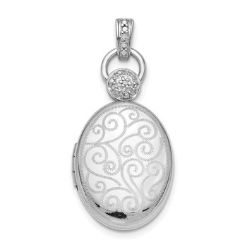 Sterling Silver Rhodium-plated 18mm Diamond Accent Scroll Oval Locket