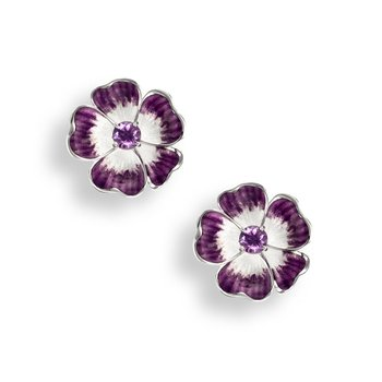 Purple Floral Stud Earrings.Sterling Silver-Amethyst