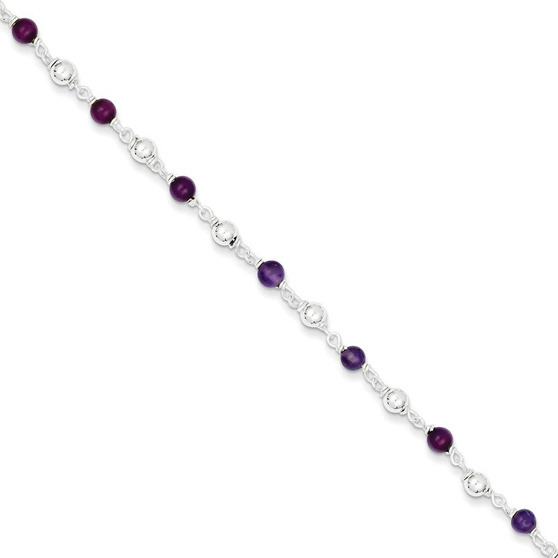 Quality Gold Sterling Silver 7inch Polished Amethyst Beaded Bracelet